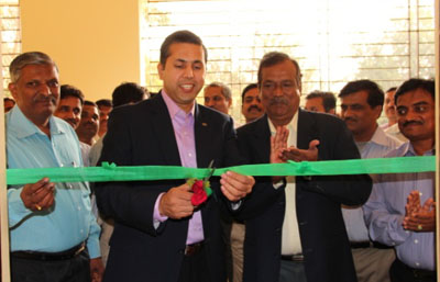 Ribbon cutting ceremony at precision ag lab in India