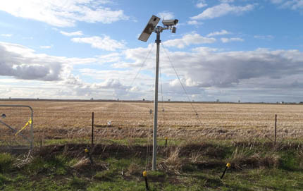 Solar power, rain sensors, surveillance camera in experimental wheat field