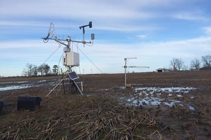 Eddy covariance towers in winter rice field, Arkansas